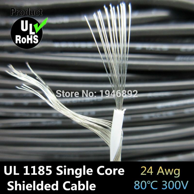High Quality UL1185 24AWG Single Core Conductor Tinned copper Sprial Shielded audio cable Speaker Wire cable Signal Cable