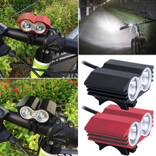 2*T6 LED Front Bike Light Bicycle Headlight 4 Modes MTB Riding Light Waterproof Bike Flashlight+Back Safety Red Laser Taillight(China)