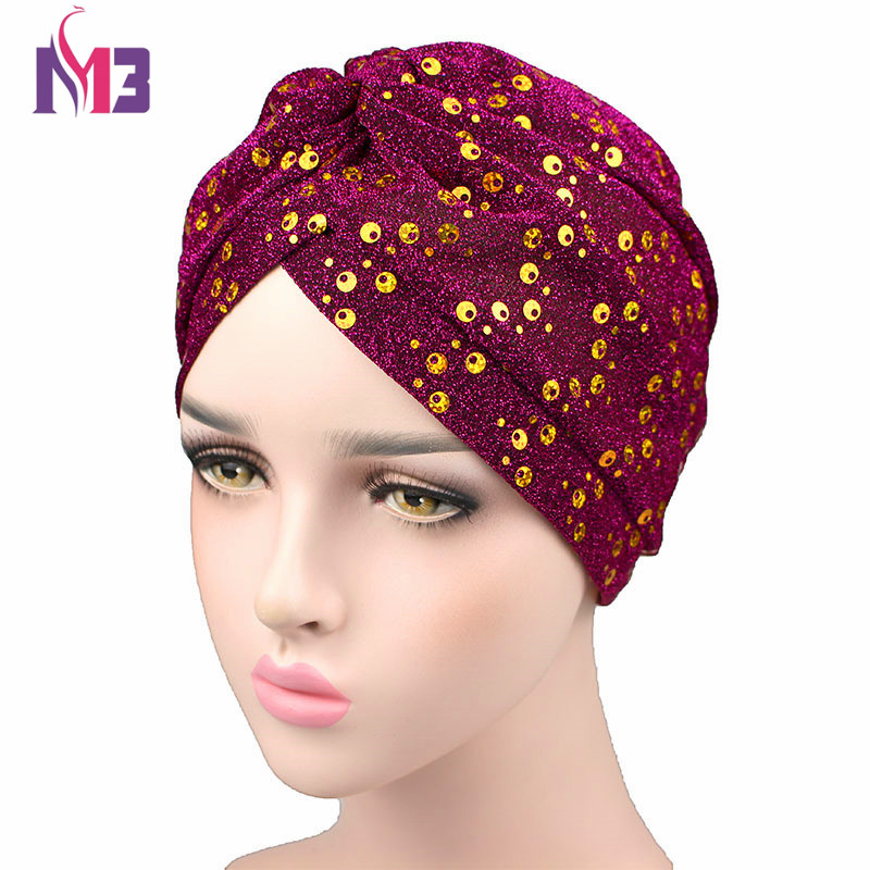New Arrival Fashion Women Turban Shiny Gold Sequins Twist Turban Headband Hat Headwear Turbante Hijab Hair Accessories in Women 39 s Hair Accessories from Apparel Accessories