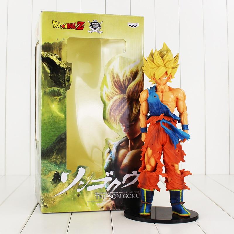 все цены на 1pcs Super size Dragon Ball Z Son Goku Super Master Stars Piece PVC Figure BANPRESTO Toy Free shipping онлайн
