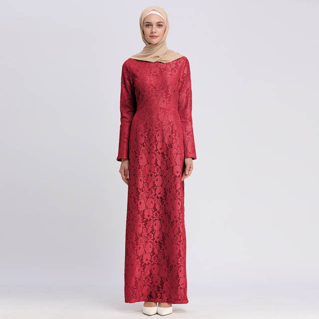 df3c156c67fd5 Elegant Muslim Lace Abaya Sheath Maxi Dress Flare Sleeve Cardigan Long  Robes Tunic Ramadan Islamic Clothing Worship Service
