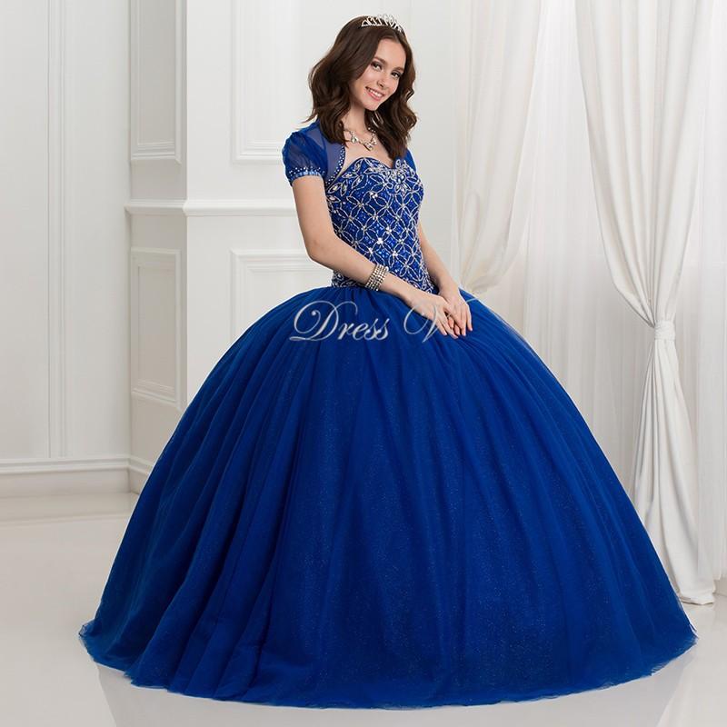 cf961c86c7a9f Dressv 2016 Foncé Bleu Royal Robe De Bal robe de quinceanera 2 pièce Puffy  Robes De Quinceanera Avec Veste perles Robe d anniversaire pour 16 ans