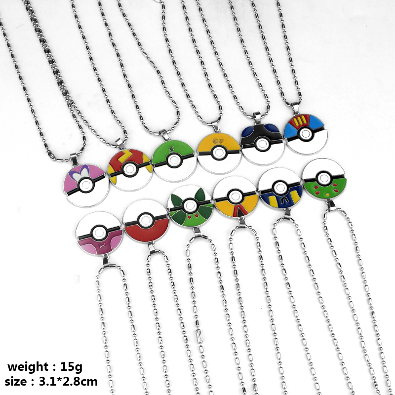 12 style Game Pokemon Go Logo Pendant Necklace Vintage Metal Alloy Plated Chain Necklace For Women&Men