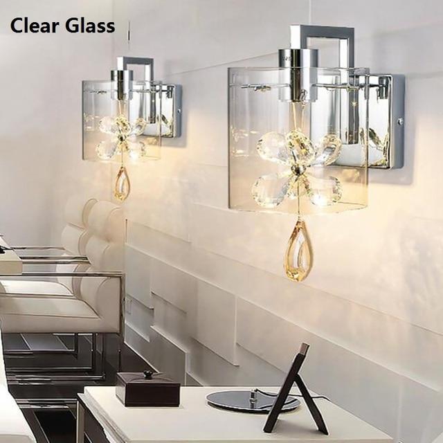 Moderno cristal mariposa aplique de la pared llevó la luz LED ...