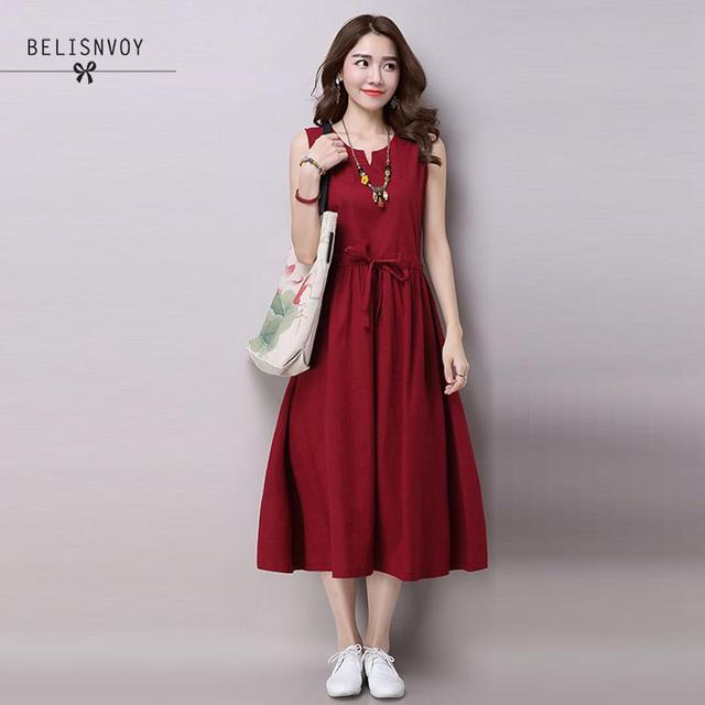 3b756ef414 New Style Solid Color Long Casual Summer Dresses Plus Size Beach Dress  Tunic Sleeveless Red White