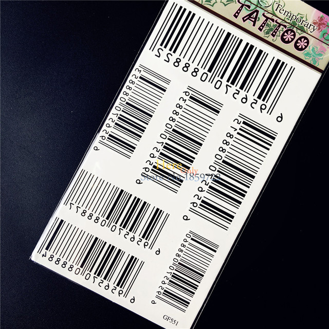 Water Transfer Temporary Tattoo Sticker Waterproof Bar Code Decals For Women Men Body Art Fake Tattoo Stickers HGF551