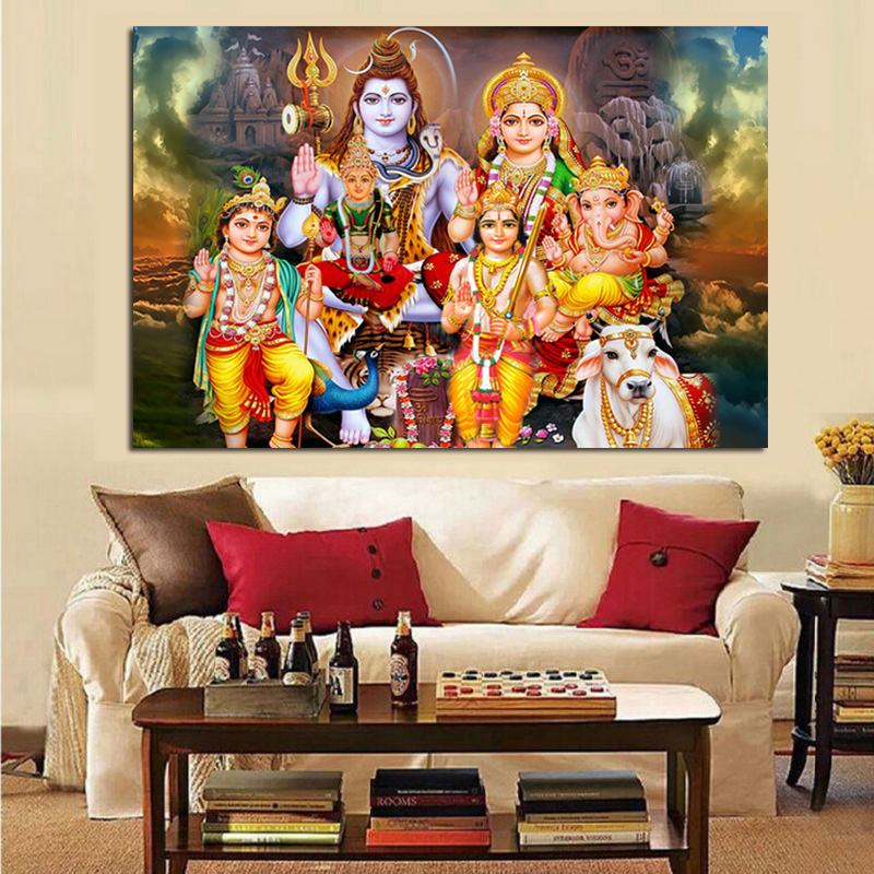Shiva Parvati Ganesha Indian Art Hindu God Figure Canvas Painting Religious Poster and Print Wall Picture for Living Room Decor Сумка