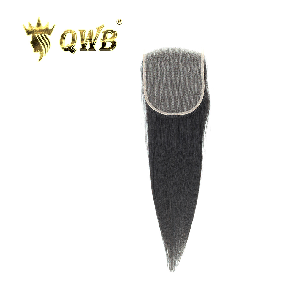 QWB Queen Weave Beauty Free shipping 5x5 Light Yaki 12''/14''/16'' /18''Brazilian Virgin Hair Light Brown Lace Closure-in Closures from Hair Extensions & Wigs