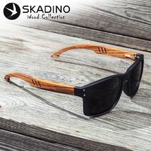 SKADINO Walnut Wood Men Solbriller Polarisert Wooden Sun Glasses for Women Blue Green Lens Håndlaget Mote Brand Cool UV400
