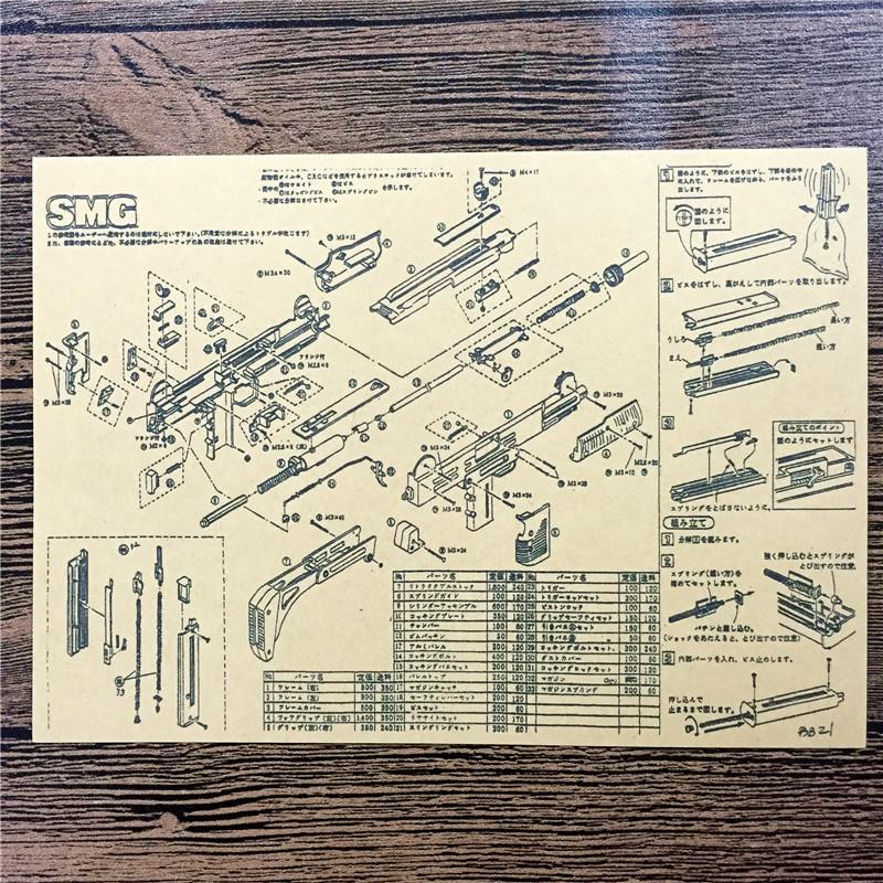 RMG-086 back to the future kraft paper Rifle exploded view wallpaper art poster pictures home decor for bathroom 42x30 cm
