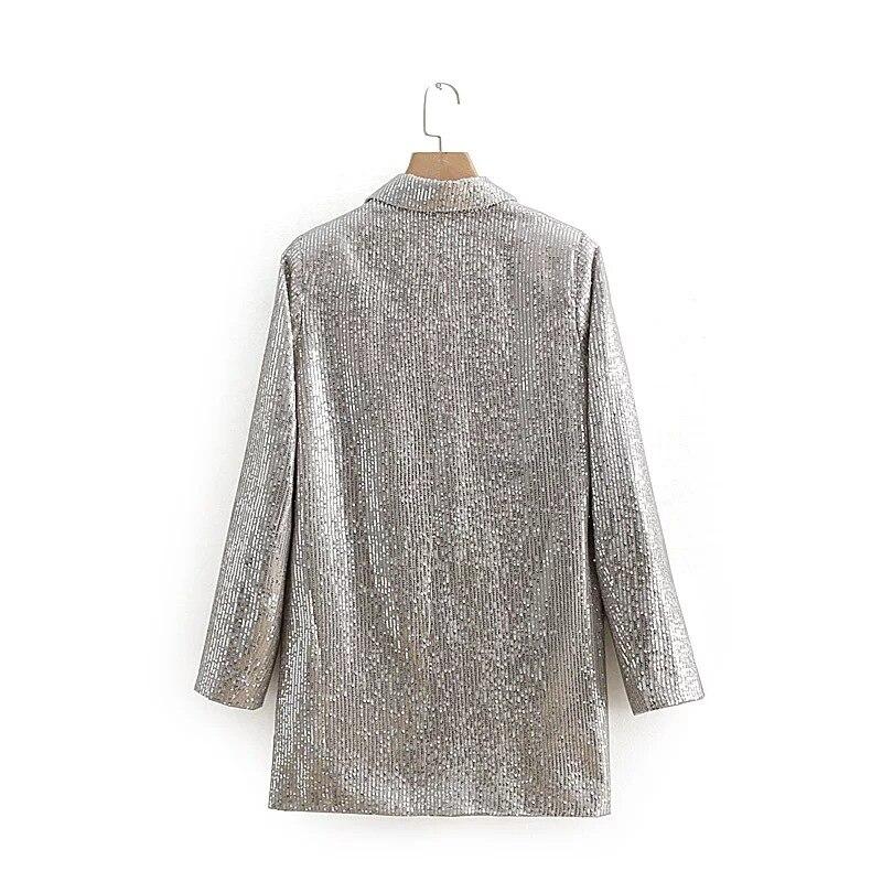 2019 Spring New Sequins Long Blazer Women Solid Double Breasted Long Sleeve Female Jacket Outwear Casual Women's Jacket Blazer