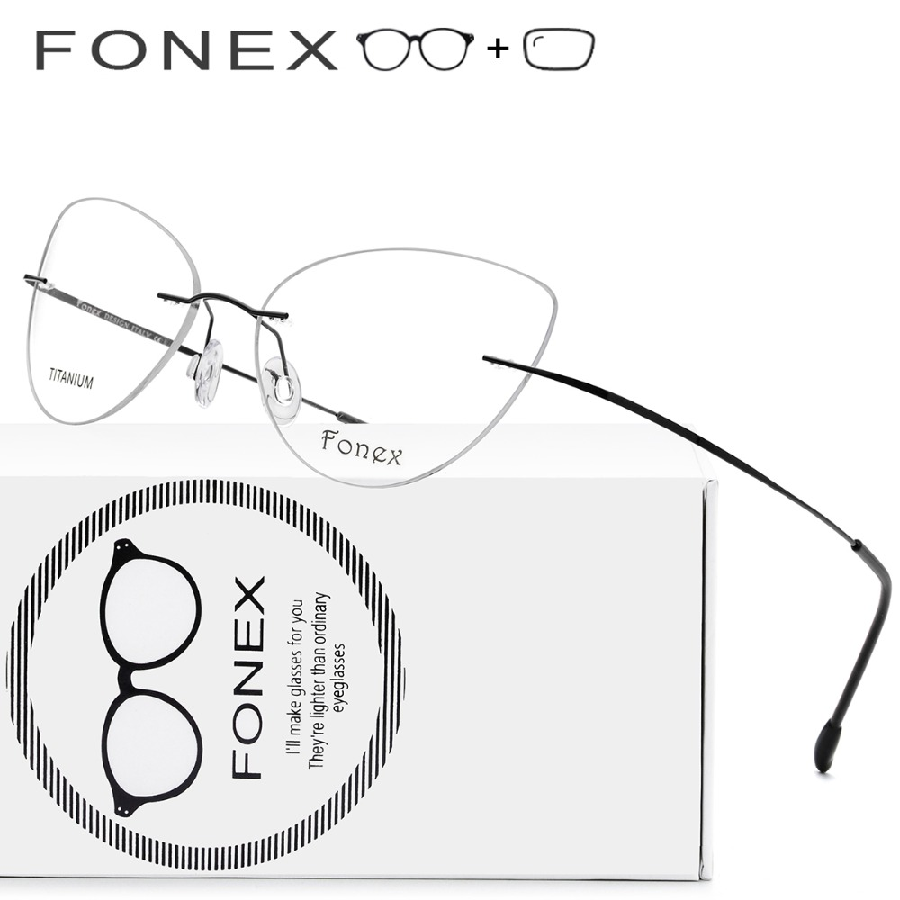 Montura de aleación de titanio gafas ultraligero de ojo de gato gafas de mujeres miopía marco óptico de Damas sin tornillos gafas