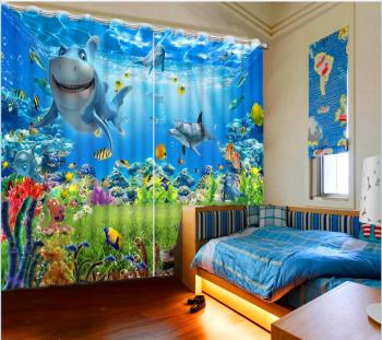 3d Curtains for living room ocean dolphin curtain custom curtains High Quality Customize size Modern