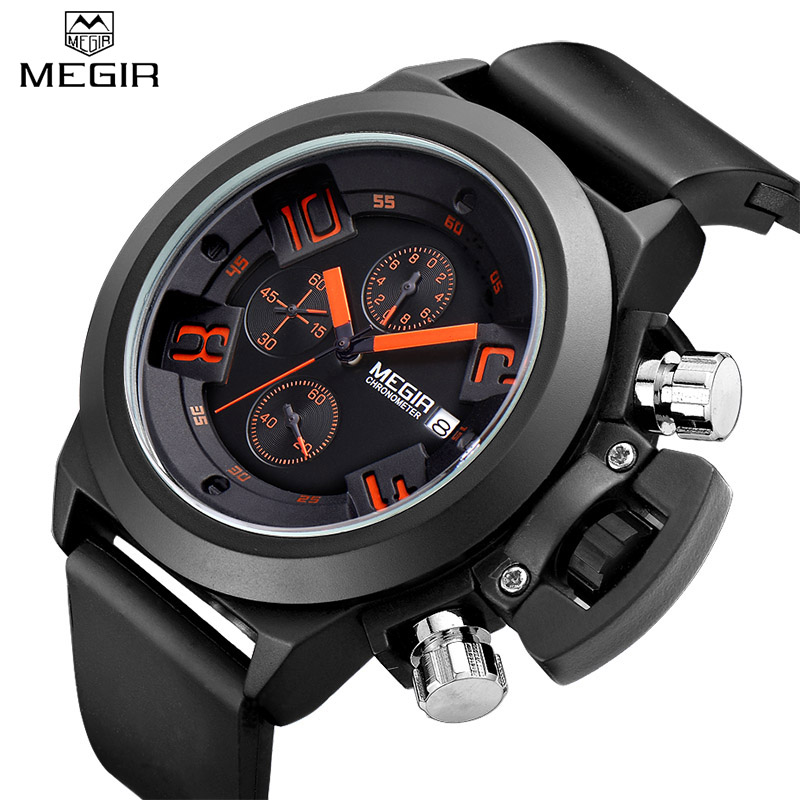 Luxury Brand Megir Men Sports Watches Men's Quartz Chronograph 6 Hands 24 Hours Clock Man Military Wrist Watch Relogio Masculino megir mens chronograph 6 hands 24 hours function sport wrist watches luxury silicone military quartz watch man relogio masculino