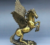 10 Folk Old China Royal Bronze Auspicious Wealth Fly Wings Horse Unicorn Statue