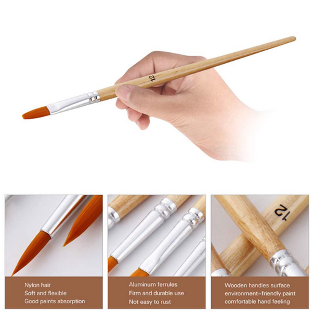 Closeout Deals═Hair-Paint-Brush-Set Oil-Painting Watercolor Art-Supplies Round-Tip Acrylic Pointed-Artists
