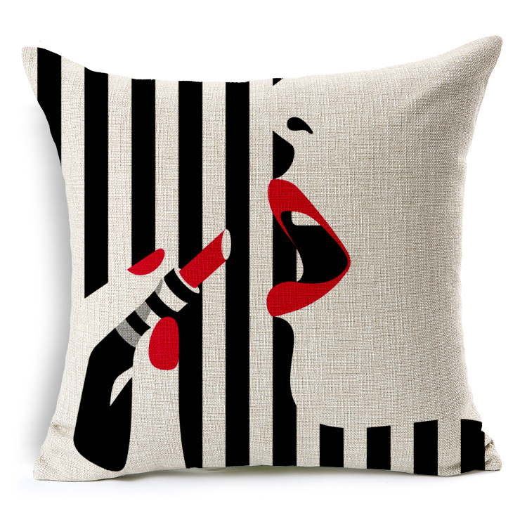 y Lady cushion covers 45X45cm Throw Pillows Covers Red Lip