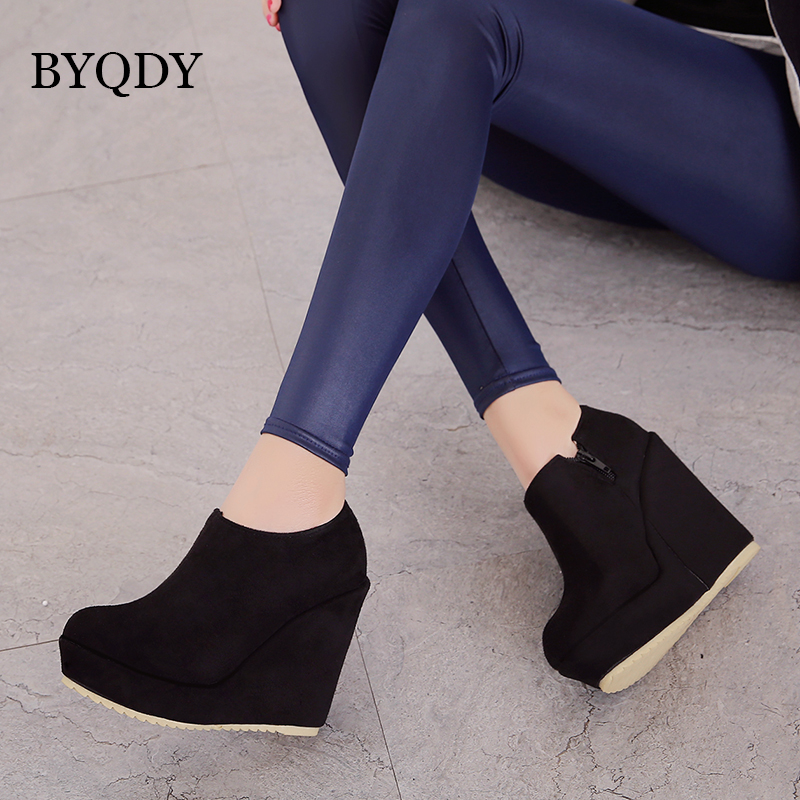 BYQDY 2019 Spring Autumn Women Platform Shoes Round Toe Pumps Fashion Wedges Female Casual Suede Lady Size 43