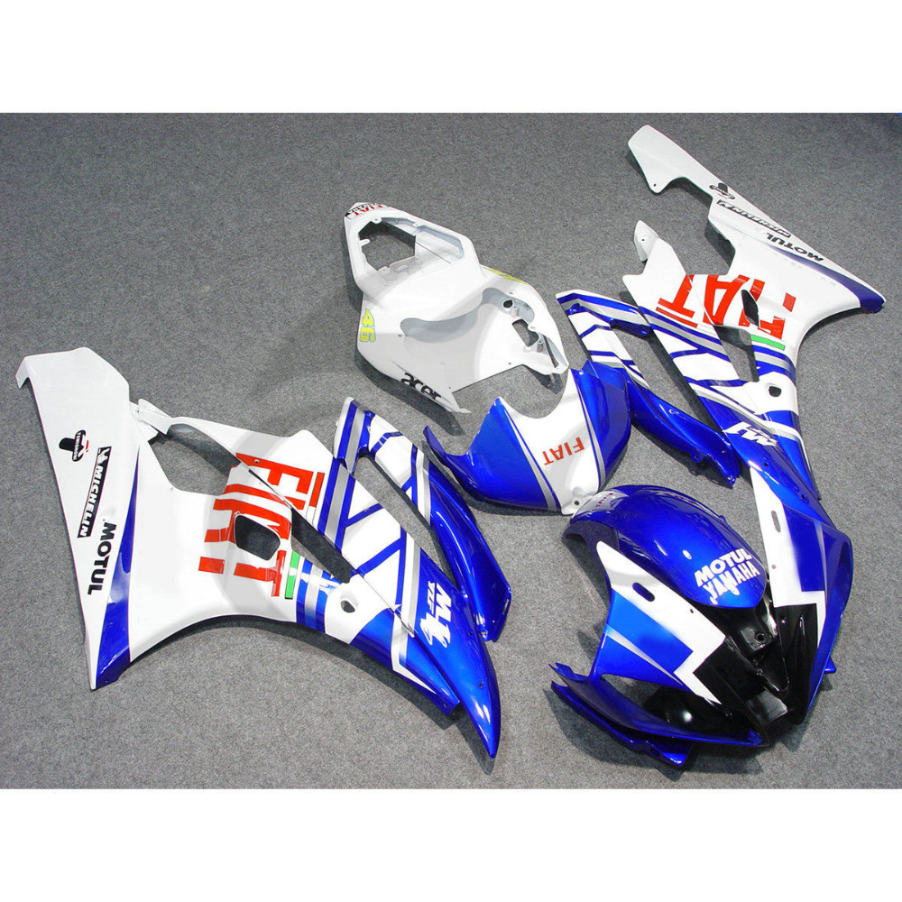 Injection ABS Plastic Fairing Kit For YAMAHA YZF R6 YZF-R6 2006-2007 Blue White kemimoto r6 motorcycle complete full set of fairing bolts bolt kit body screws for yamaha yzf r6 2006 2007 r6