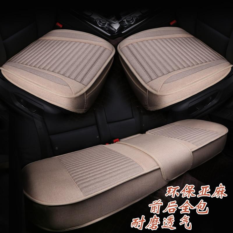 Linen 3-piece set car seat cushion full four seasons general eco-friendly breathable sweat absorbing sedan seats pad universal