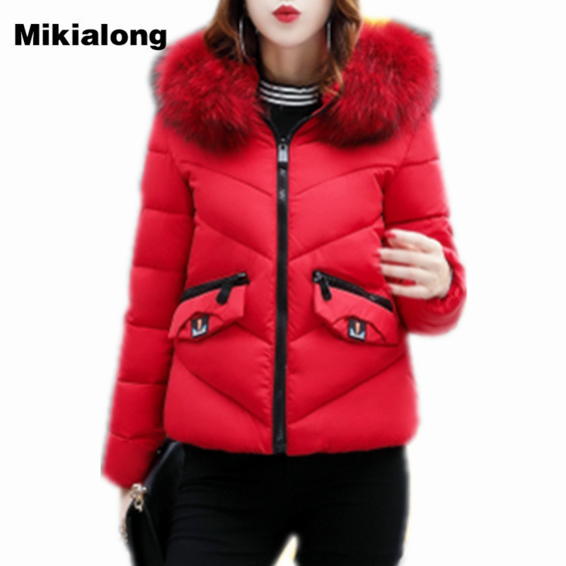 Mikialong Fur Collar Winter Jacket Women Parkas 2017 Fashion Hooded Wadded Coat Female Thick Warm Cotton Padded Chaquetas Mujer akslxdmmd parkas mujer 2017 new winter women jacket fur collar hooded printed fashion thick padded long coat female lh1077
