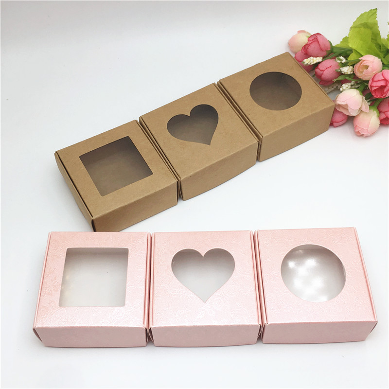 50pcs  Paper Cardboard Brown/Pink Rose Clear PVC Window Gifts Packing Box Products/Favors Jewelry Display Boxes 6.5*6.5*3cm