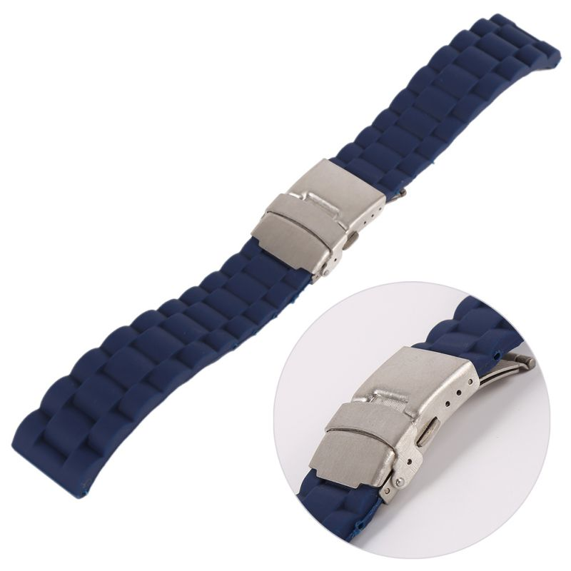 где купить Mens Silicone Rubber Wrist Watch Strap Band Waterproof with Deployment Clasp Red Orange Blue Coffee по лучшей цене