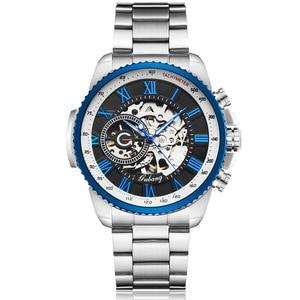 Image 2 - Luxury Top Silver Automatic Mechanical Men Watch Skeleton Steel Bracelet Self wind Wristwatch Male Blue Sliver Black Clock Reloj