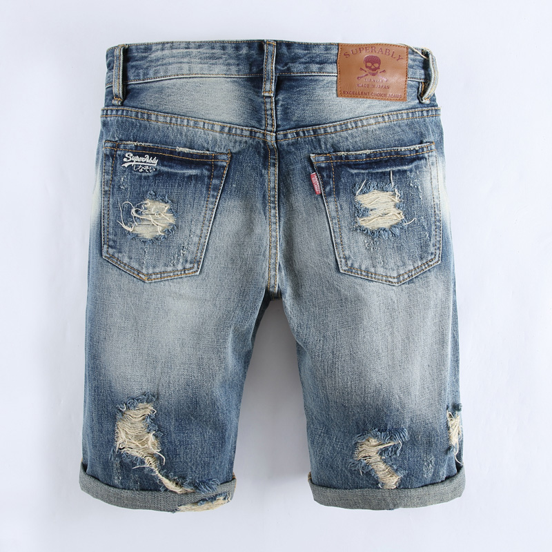 Knee Length Hole Moto Jeans Shorts Men Superably Brand Clothing Cotton Slim Fit Denim Shorts Blue Destroyed Shorts Jeans U357 brand clothing men s destroyed jeans shorts high quality straight knee length designer casual blue ripped short jeans men r109