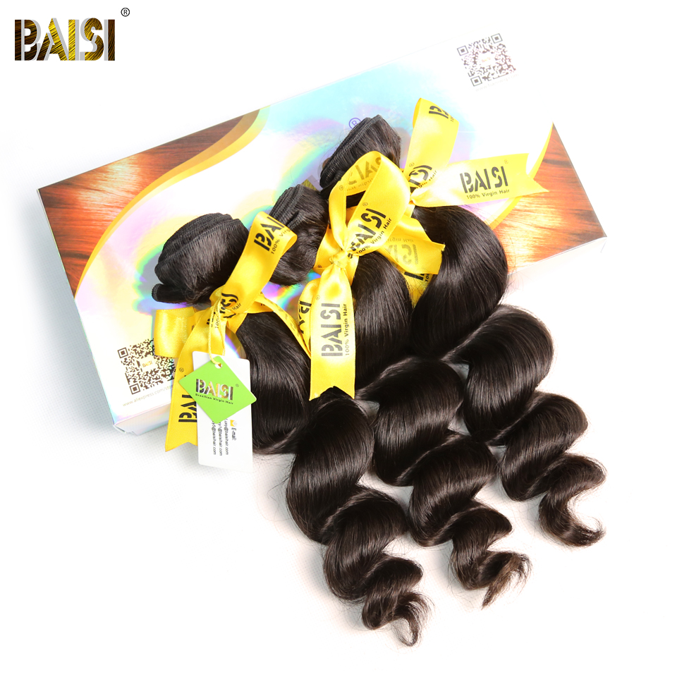 BAISI Hair Loose 3-Bundles 100%Human-Hair Extensions Brazilian Wave 10A Raw