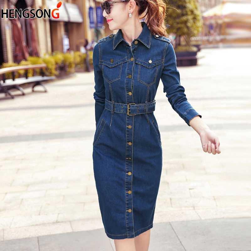 Kobiety dżinsy pasek do garnituru długi Cowboy Denim sukienka panie OL praca biurowa sukienka 2019 nowy jesień Bodycon sukienka ołówkowa Vestido Jeans