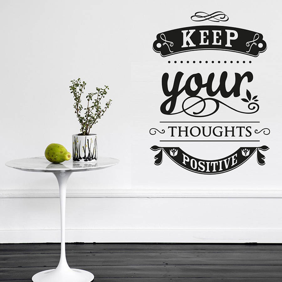 Motto Quotes Wall Stickers Keep your thoughts positive Wall Decal For Office Bedroom Decor Removable DIY Vinyl Sticker ZA194