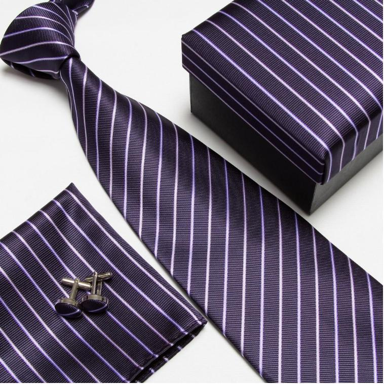 Мужская мода высокого качества полосатый набор галстуков галстуки Запонки hankies шелковые галстуки Запонки карманные носовые платки - Цвет: 6