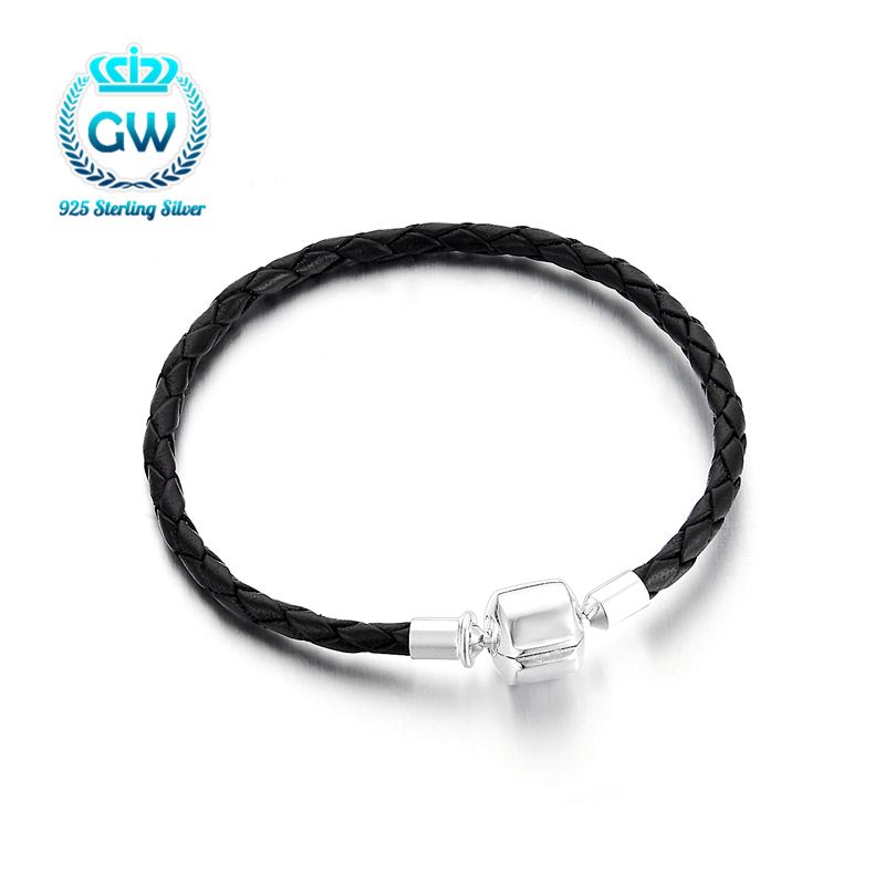 100% 925 Sterling Silver & Black Leather Chain Charm More size Fit <font><b>Pan</b></font> <font><b>Bracelet</b></font> For Women Men Original Fanshion Jewelry -40 image