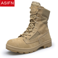 ASIFN Mens Boots Leather Winter Military Shoes Casual High Quality Men's Desert Tactical Combat Army Work Leather Snow Male
