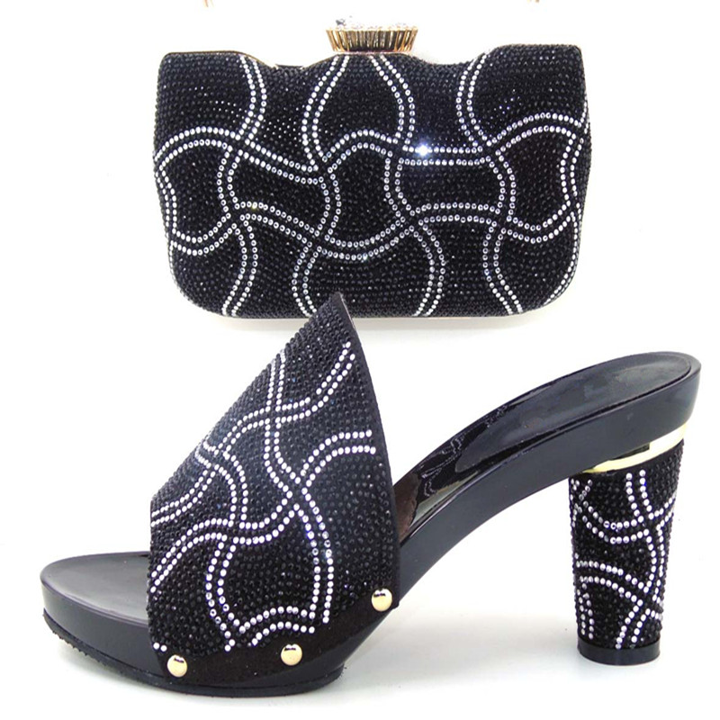 ФОТО High Class Italian Shoes And Matching Bag With Rhinestone,Most Popular African Shoes And Bag For Women! WDL1-18