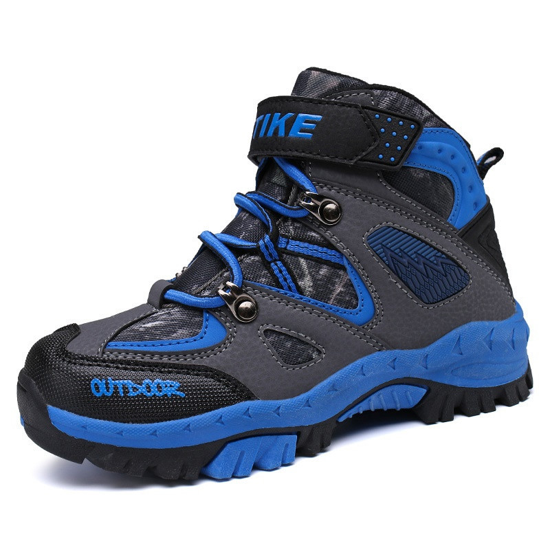 Kids Climbing Boots Hiking Shoes Flat Winter Anti-Slip Sport Sneakers Shoes Children Outdoor Shoes With Fur A60080