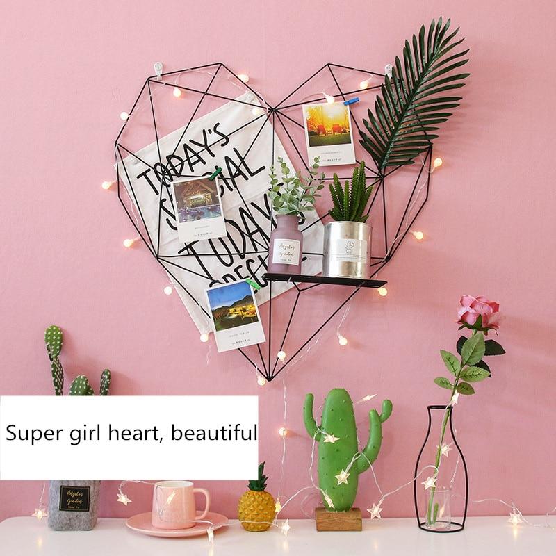 2019 métal en forme de coeur Photo grille cadre mur Photos grilles cartes postales maille cadre maison chambre bricolage décoration fer stockage Rack