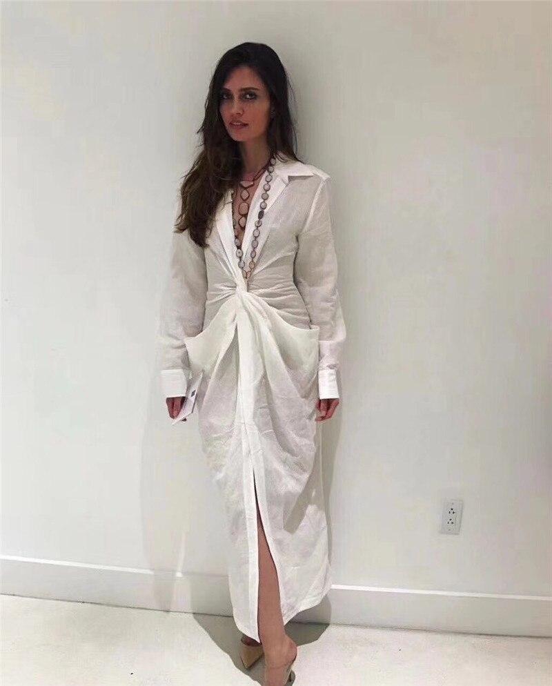 2018 été mode profonde v sexy blanc robes MIDI à manches longues sexy femme robe de soirée de haute qualité