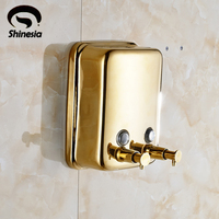 Wholesale And Retail Solid Brass Bathroom Liquid Soap Dispenser Gold Polished Wall Mount