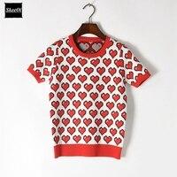 2018 Summer Ladies Tees Heart Pattern Print Basic Casual New Fashion Sweet T Shirt Runway Designer