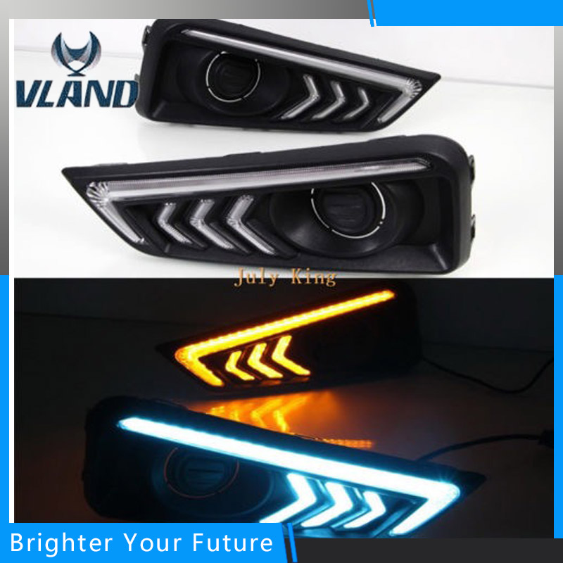 Car Accessories Waterproof ABS Daytime Running Lights DRL With Yellow Turn Signals for Honda City 2015-2016 2017 1set car accessories daytime running lights with yellow turn signals auto led drl for volkswagen vw scirocco 2010 2012 2013 2014