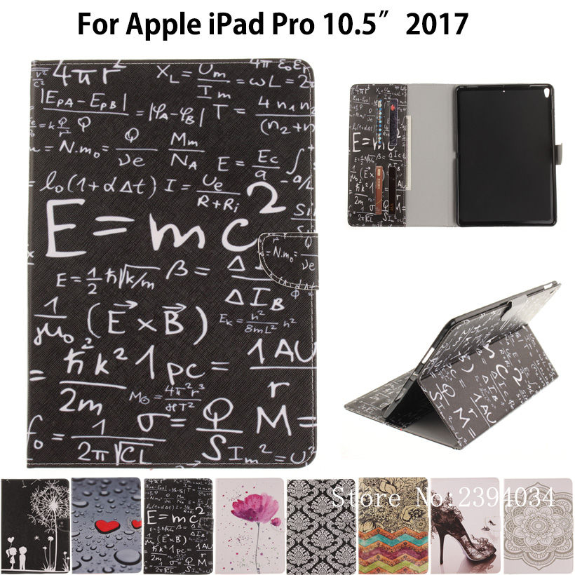 Fashion Painted Case For Apple iPad Pro 10.5'' 2017 Case Smart Cover A1701 Funda Tablet Soft TPU+PU Leather Flip Stand Shell official original 1 1 case cover for apple ipad pro 12 9 2017 cases tpu smart clear cover for ipad pro ipad plus 12 9 2015 case