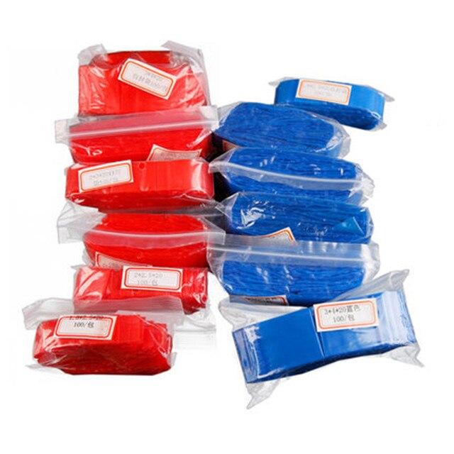 ¡Novedad de 100! Unids/lote de 20 bolsas con cierre Ziplock de color azul y rojo, bolsa para joyas, bolsas selladas con pequeño bolsillo grueso, accesorios para joyas