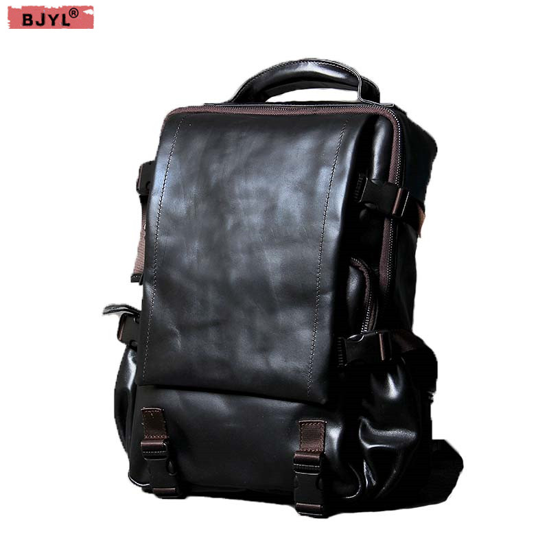 The first layer of leather Men shoulder bag mountaineering travel bag handmade men Retro genuine leather 14 inch laptop backpack