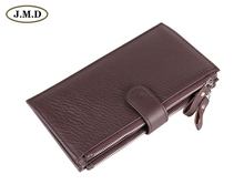 8057C High Capacity  Fashion Genuine Leather Coffee Mens Wallet Clutch Bag