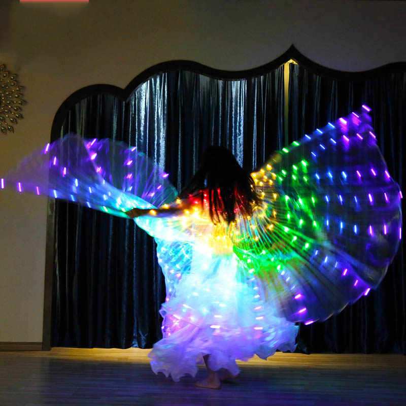 327dd9c1b Color Led Isis Wings with Holding Sticks Belly Dance Accessories Stage  Performance Props Shining Led Wings