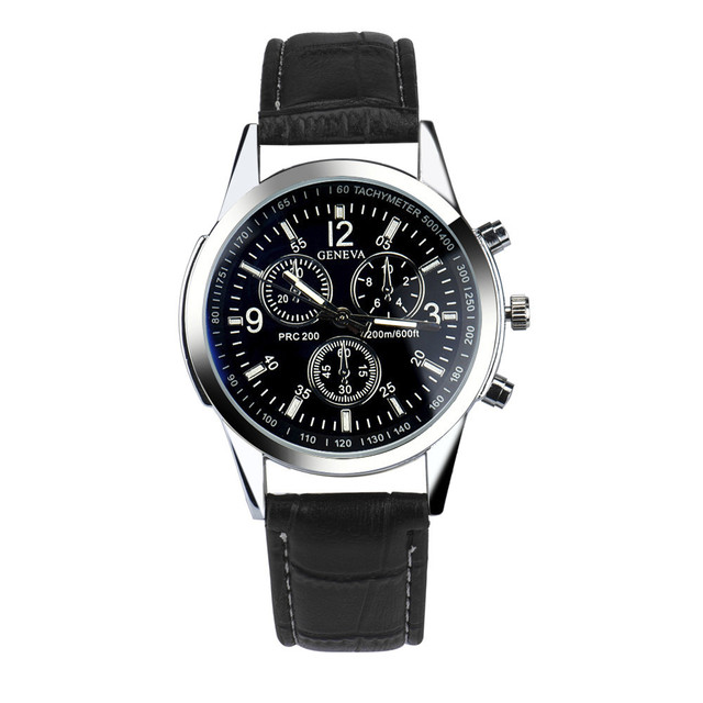 Brand Luxury Male Clock Fashion Faux Leather Mens Analog Watches Casual Stainles