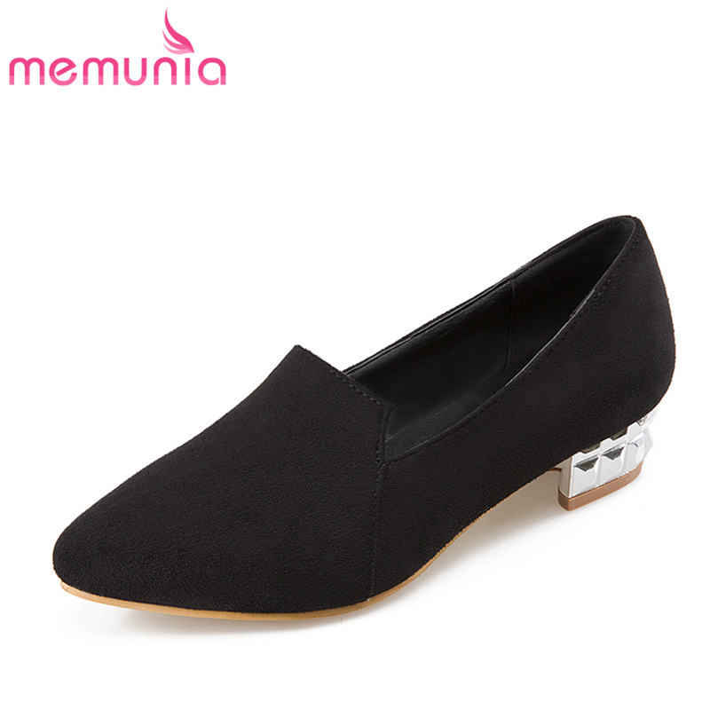 MEMUNIA 2017 new arrive women pumps simple fashion flock pointed toe single  shoes med heel spring autumn shallow ladies shoes memunia 2017 fashion flock spring autumn single shoes women flats shoes solid pointed toe college style big size 34 47