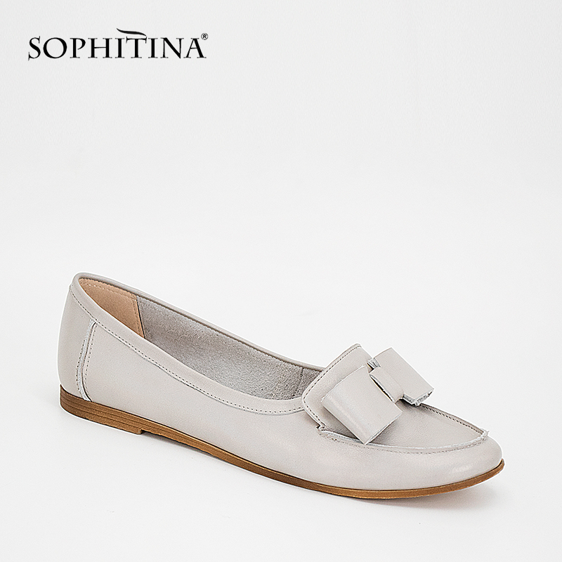 SOPHITINA Genuine Leather Woman Shoes Gray Sheepskin Butterfly-knot Low Heel Lady Flats Comfortable Round Toe Slip-on Flats P33SOPHITINA Genuine Leather Woman Shoes Gray Sheepskin Butterfly-knot Low Heel Lady Flats Comfortable Round Toe Slip-on Flats P33